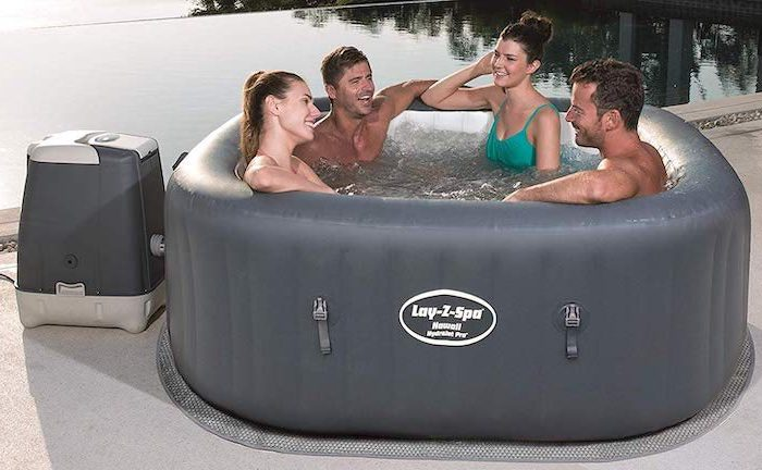 Bestway Lay-Z-Spa Hawaii HydroJet Pro: Aufblasbarer Whirlpool in Grau