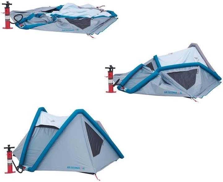 Quechua-Campingzelt-AIR-Aufbau-mit-Luftpumpe