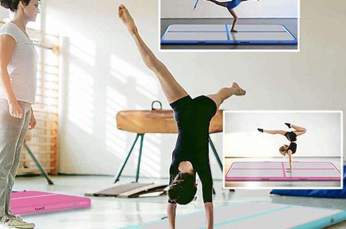 Rolimate aufblasbare Gymnastikmatte für Sport, Yoga und Fitness
