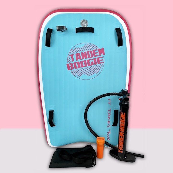 Tandem-Boogie-Board-mit-Luftpumpe-und-Tasche