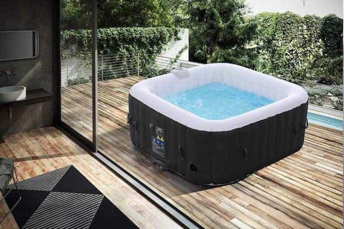 Aufblasbarer Whirlpool von Arebos: Quadratische Form bietet viel Platz