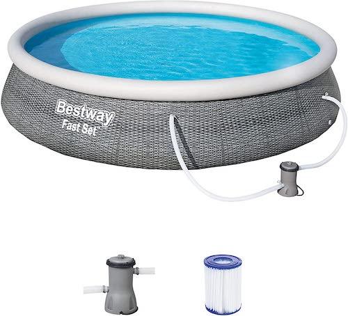 Bestway-Pool-in-Rattanoptik-mit-Filteranlage
